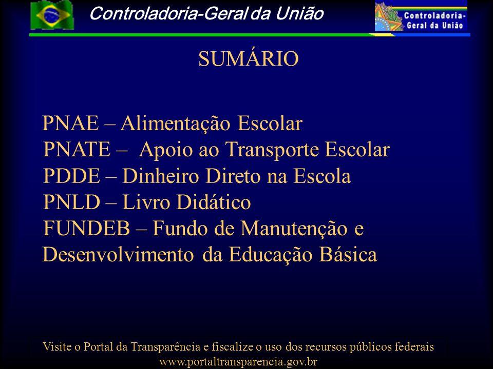 Controladoria-Geral da União Visite o Portal da Transparência e fiscalize o uso dos recursos públicos federais www.portaltransparencia.gov.br SUMÁRIO