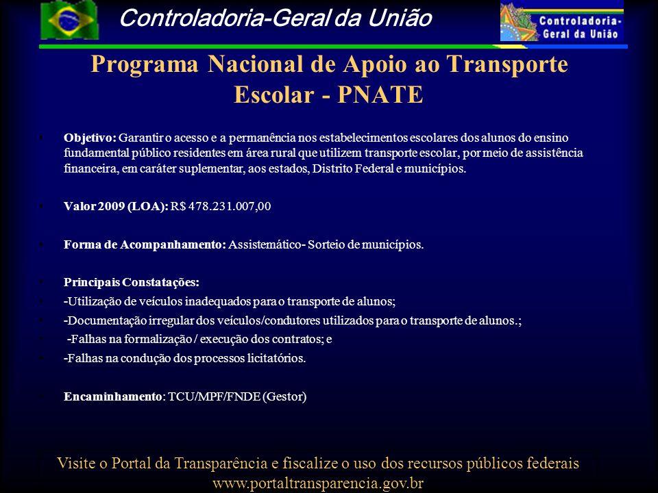 Controladoria-Geral da União Visite o Portal da Transparência e fiscalize o uso dos recursos públicos federais www.portaltransparencia.gov.br Programa