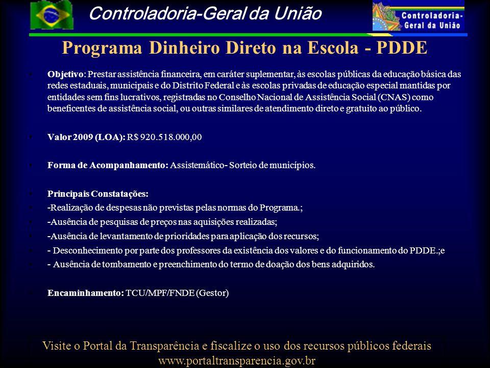 Controladoria-Geral da União Visite o Portal da Transparência e fiscalize o uso dos recursos públicos federais www.portaltransparencia.gov.br Demandas do Fundef Período de 1/01/1995 a 31/08/2009 TIPO DE DEMANDAQUANTIDADE INTERNA45 DENÚNCIA113 PRESIDÊNCIA1 TCU1 SENADO1 CÂMARA DOS DEPUTADOS13 MINISTÉRIO PÚBLICO105 CONTROLADORIA55 PROJETO MUNICÍPIOS215 PROJETO ESTADOS1 AGU1 INVESTIGAÇÂO15 TOTAL566