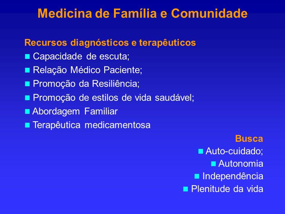 Medicina de Família e Comunidade Recursos diagnósticos e terapêuticos Capacidade de escuta; Relação Médico Paciente; Promoção da Resiliência; Promoção
