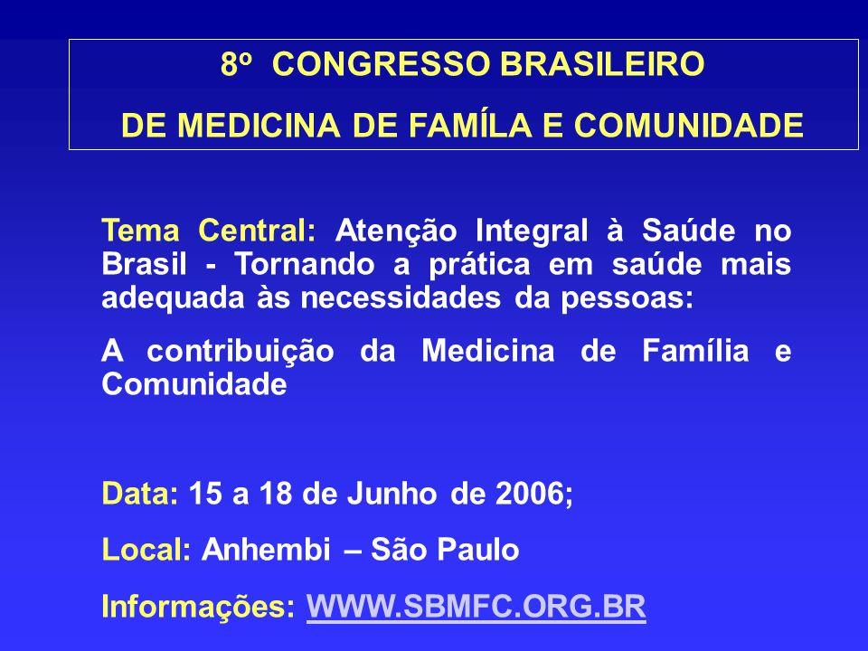 Tema Central: Atenção Integral à Saúde no Brasil - Tornando a prática em saúde mais adequada às necessidades da pessoas: A contribuição da Medicina de