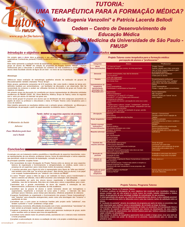 TUTORIA: UMA TERAPÊUTICA PARA A FORMAÇÃO MÉDICA? Maria Eugenia Vanzolini* e Patrícia Lacerda Bellodi Cedem – Centro de Desenvolvimento de Educação Méd
