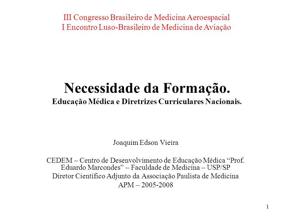 2 Necessidade da Formação Objetivos desta apresentação [20 diapositivos] –Cenário atual da formação em medicina no Brasil Contexto histórico resulta em Diretrizes.