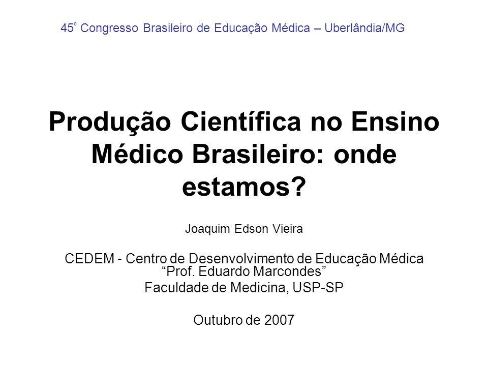 Produção Científica no Ensino Médico Brasileiro: onde estamos? Joaquim Edson Vieira CEDEM - Centro de Desenvolvimento de Educação Médica Prof. Eduardo