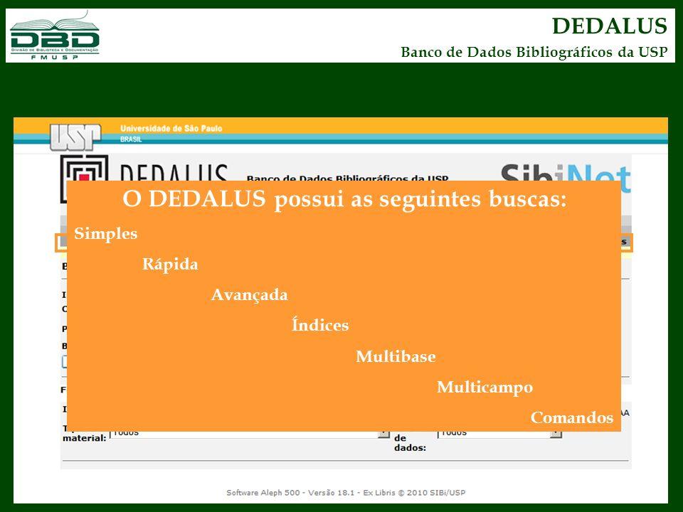 DEDALUS Banco de Dados Bibliográficos da USP O DEDALUS possui as seguintes buscas: Simples Rápida Avançada Índices Multibase Multicampo Comandos