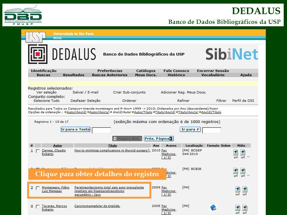 DEDALUS Banco de Dados Bibliográficos da USP Clique para obter detalhes do registro
