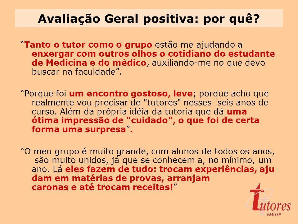 Avaliação Geral positiva: por quê? Tanto o tutor como o grupo estão me ajudando a enxergar com outros olhos o cotidiano do estudante de Medicina e do