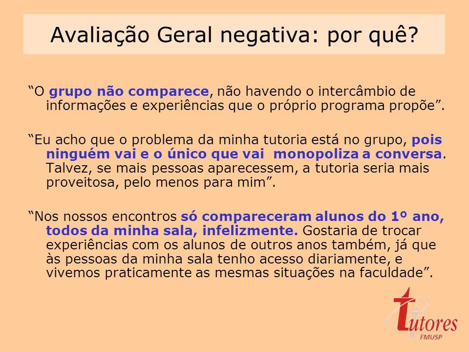 Avaliação Geral negativa: por quê? O grupo não comparece, não havendo o intercâmbio de informações e experiências que o próprio programa propõe. Eu ac