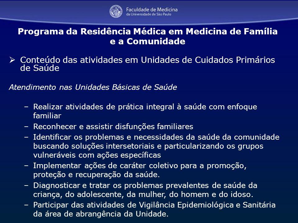 13 Conteúdo das atividades em Unidades de Cuidados Primários de Saúde Atendimento nas Unidades Básicas de Saúde –Realizar atividades de prática integr