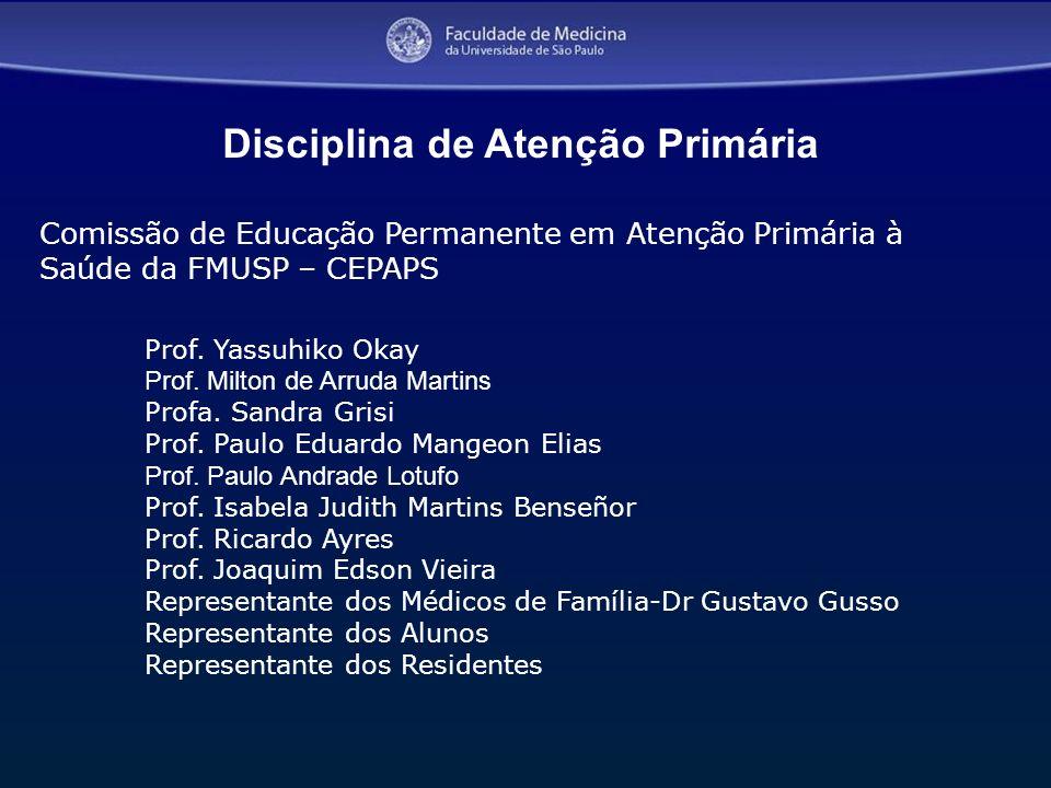 3 Comissão de Educação Permanente em Atenção Primária à Saúde da FMUSP – CEPAPS Prof. Yassuhiko Okay Prof. Milton de Arruda Martins Profa. Sandra Gris