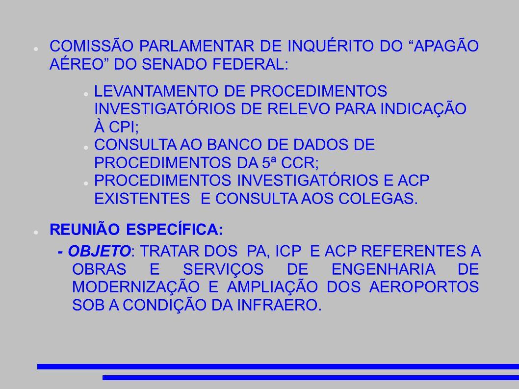 COMISSÃO PARLAMENTAR DE INQUÉRITO DO APAGÃO AÉREO DO SENADO FEDERAL: LEVANTAMENTO DE PROCEDIMENTOS INVESTIGATÓRIOS DE RELEVO PARA INDICAÇÃO À CPI; CONSULTA AO BANCO DE DADOS DE PROCEDIMENTOS DA 5ª CCR; PROCEDIMENTOS INVESTIGATÓRIOS E ACP EXISTENTES E CONSULTA AOS COLEGAS.