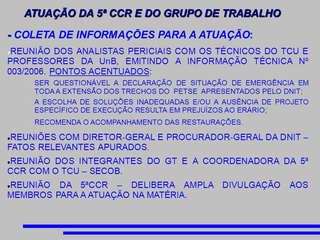 - REMESSA À PR/DF DOS DADOS ENCAMINHADOS PELA CPI DO APAGÃO AÉREO DO SENADO FEDERAL À PR/SP, VISANDO À INSTAURAÇÃO DO PROCEDIMENTO COM O ESPECIAL OBJETO DE INVESTIGAR AS IRREGULARIDADES DOS CONTRATOS DE OBRAS DE MODERNIZAÇÃO E AMPLIAÇÃO DOS AEROPORTOS BRASILEIROS; - ENCAMINHAMENTO DE OFÍCIO AO COORDENADOR DA 5ª CCR ENFATIZANDO A NECESSIDADE DE AUMENTO DO QUADRO DE ANALISTA PERICIAL COM FORMAÇÃO EM ENGENHARIA CIVIL VINCULADO À 5ª CCR; - NECESSIDADE DE ACOMPANHAMENTO PREVENTIVO DAS OBRAS AEROPORTUÁRIAS A SEREM REALIZADAS NO AEROPORTO DE VIRACOPOS, CAMPINAS/SP; ACOMPANHAMENTO DO DESDOBRAMENTO DAS ESTRATÉGICAS TRAÇADAS NA REUNIÃO.