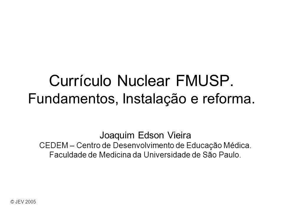 Currículo Nuclear FMUSP. Fundamentos, Instalação e reforma. Joaquim Edson Vieira CEDEM – Centro de Desenvolvimento de Educação Médica. Faculdade de Me
