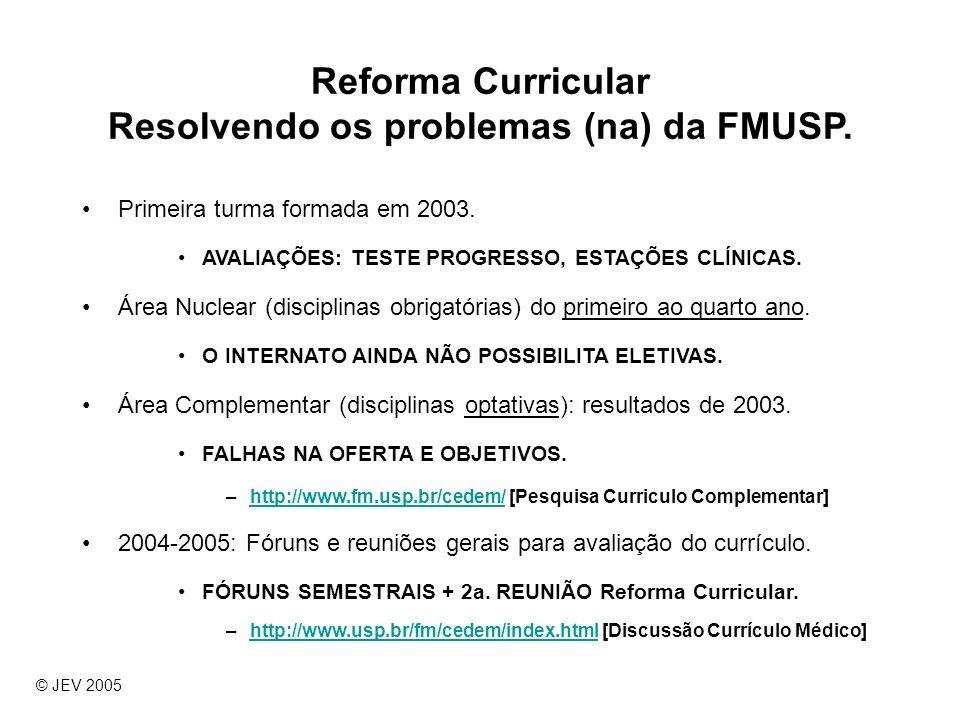 Reforma Curricular Resolvendo os problemas (na) da FMUSP. Primeira turma formada em 2003. AVALIAÇÕES: TESTE PROGRESSO, ESTAÇÕES CLÍNICAS. Área Nuclear