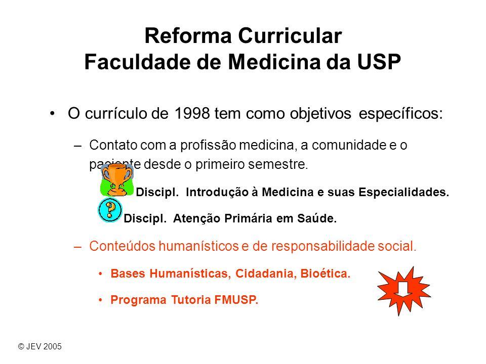 Reforma Curricular Faculdade de Medicina da USP O currículo de 1998 tem como objetivos específicos: –Contato com a profissão medicina, a comunidade e