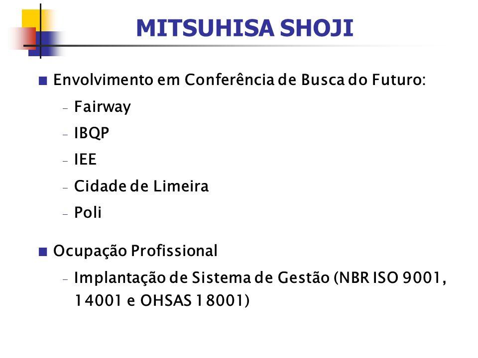 MITSUHISA SHOJI Envolvimento em Conferência de Busca do Futuro: - Fairway - IBQP - IEE - Cidade de Limeira - Poli Ocupação Profissional - Implantação