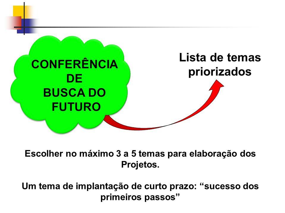 CONFERÊNCIA DE BUSCA DO FUTURO Lista de temas priorizados Escolher no máximo 3 a 5 temas para elaboração dos Projetos. Um tema de implantação de curto