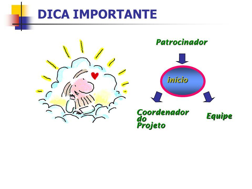 CoordenadordoProjeto EquipePatrocinador DICA IMPORTANTE início