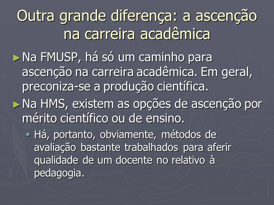 Outra grande diferença: a ascenção na carreira acadêmica Na FMUSP, há só um caminho para ascenção na carreira acadêmica. Em geral, preconiza-se a prod