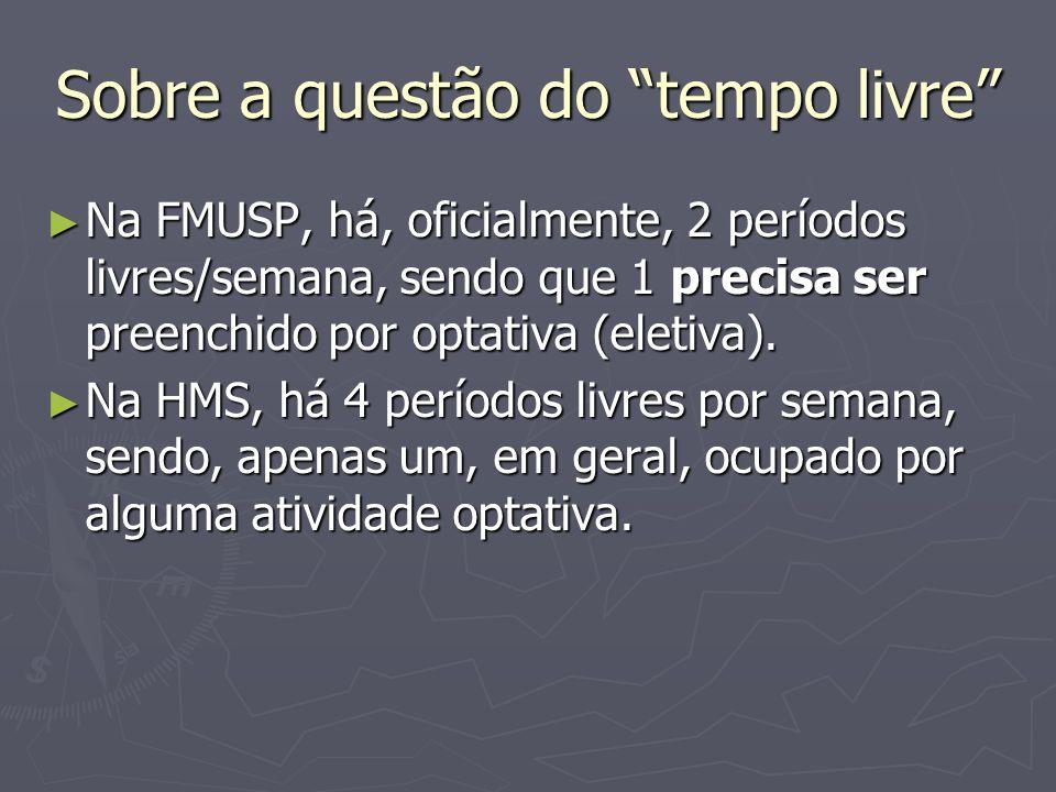 Sobre a questão do tempo livre Na FMUSP, há, oficialmente, 2 períodos livres/semana, sendo que 1 precisa ser preenchido por optativa (eletiva).