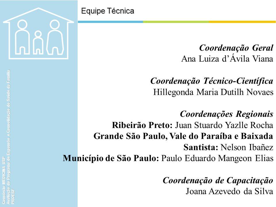 Equipe Técnica Coordenação Geral Ana Luiza dÁvila Viana Coordenação Técnico-Científica Hillegonda Maria Dutilh Novaes Coordenações Regionais Ribeirão
