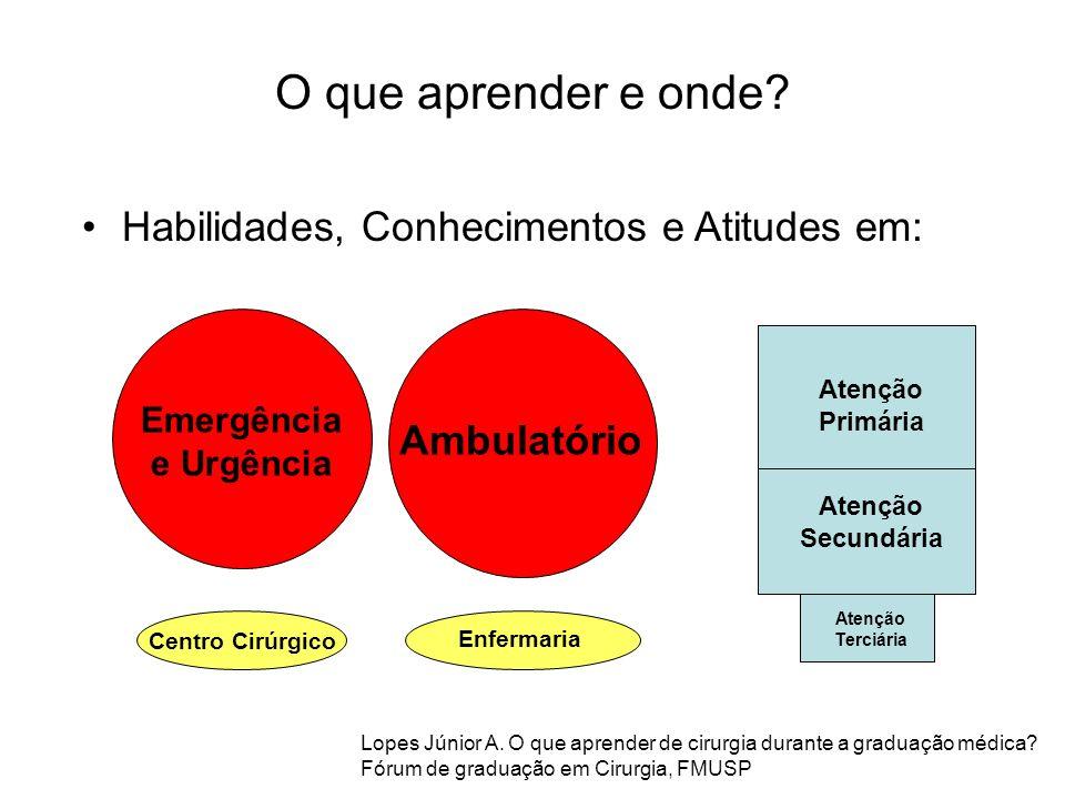 Habilidades, Conhecimentos e Atitudes em: Centro Cirúrgico Emergência e Urgência Ambulatório Enfermaria Atenção Primária Atenção Secundária Atenção Te