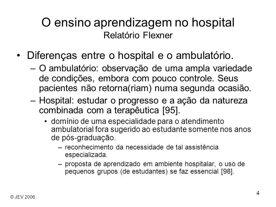 4 Diferenças entre o hospital e o ambulatório. –O ambulatório: observação de uma ampla variedade de condições, embora com pouco controle. Seus pacient