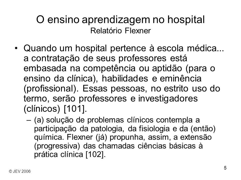 5 Quando um hospital pertence à escola médica... a contratação de seus professores está embasada na competência ou aptidão (para o ensino da clínica),