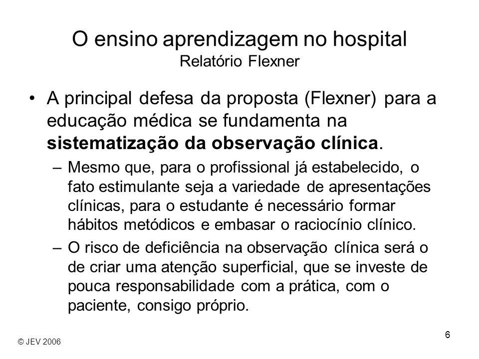 6 A principal defesa da proposta (Flexner) para a educação médica se fundamenta na sistematização da observação clínica. –Mesmo que, para o profission