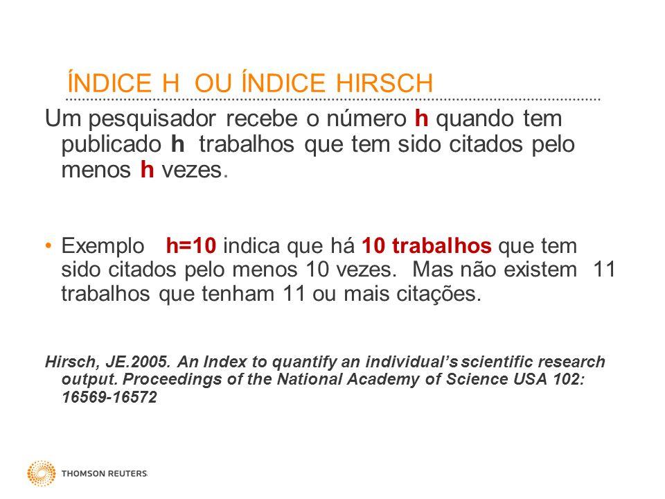 ÍNDICE H OU ÍNDICE HIRSCH Um pesquisador recebe o número h quando tem publicado h trabalhos que tem sido citados pelo menos h vezes. Exemplo h=10 indi