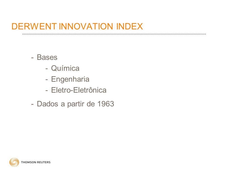 DERWENT INNOVATION INDEX -Bases -Química -Engenharia -Eletro-Eletrônica -Dados a partir de 1963