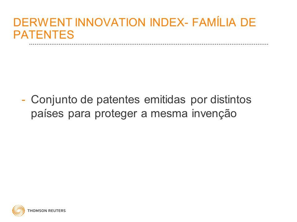 DERWENT INNOVATION INDEX- FAMÍLIA DE PATENTES -Conjunto de patentes emitidas por distintos países para proteger a mesma invenção