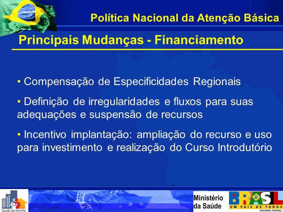 Principais Mudanças - Financiamento Definição do Teto Financeiro do Bloco AB e diminuição das rubricas de transferência Atualização da base populacion