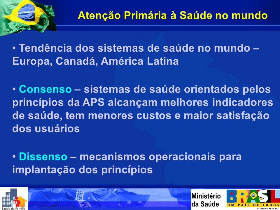 FONTE: SIAB - Sistema de Informação da Atenção Básica 1998199920002001 200320042005* 0%0 a 25%25 a 50%50 a 75%75 a 100% Evolução da Implantação de Equipes de Saúde da Família - BRASIL, 1998/2005