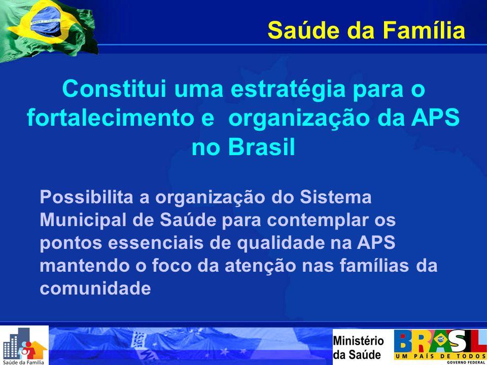 Saúde da Família Constitui uma estratégia para o fortalecimento e organização da APS no Brasil Possibilita a organização do Sistema Municipal de Saúde para contemplar os pontos essenciais de qualidade na APS mantendo o foco da atenção nas famílias da comunidade