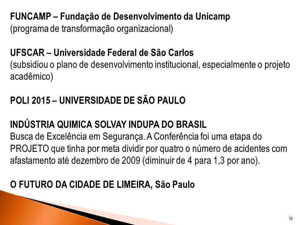 12 FUNCAMP – Fundação de Desenvolvimento da Unicamp (programa de transformação organizacional) UFSCAR – Universidade Federal de São Carlos (subsidiou