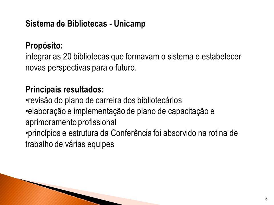 5 Sistema de Bibliotecas - Unicamp Propósito: integrar as 20 bibliotecas que formavam o sistema e estabelecer novas perspectivas para o futuro. Princi