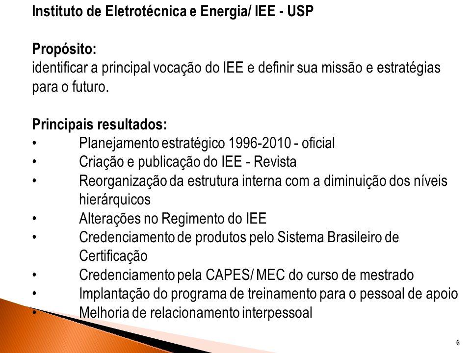 6 Instituto de Eletrotécnica e Energia/ IEE - USP Propósito: identificar a principal vocação do IEE e definir sua missão e estratégias para o futuro.