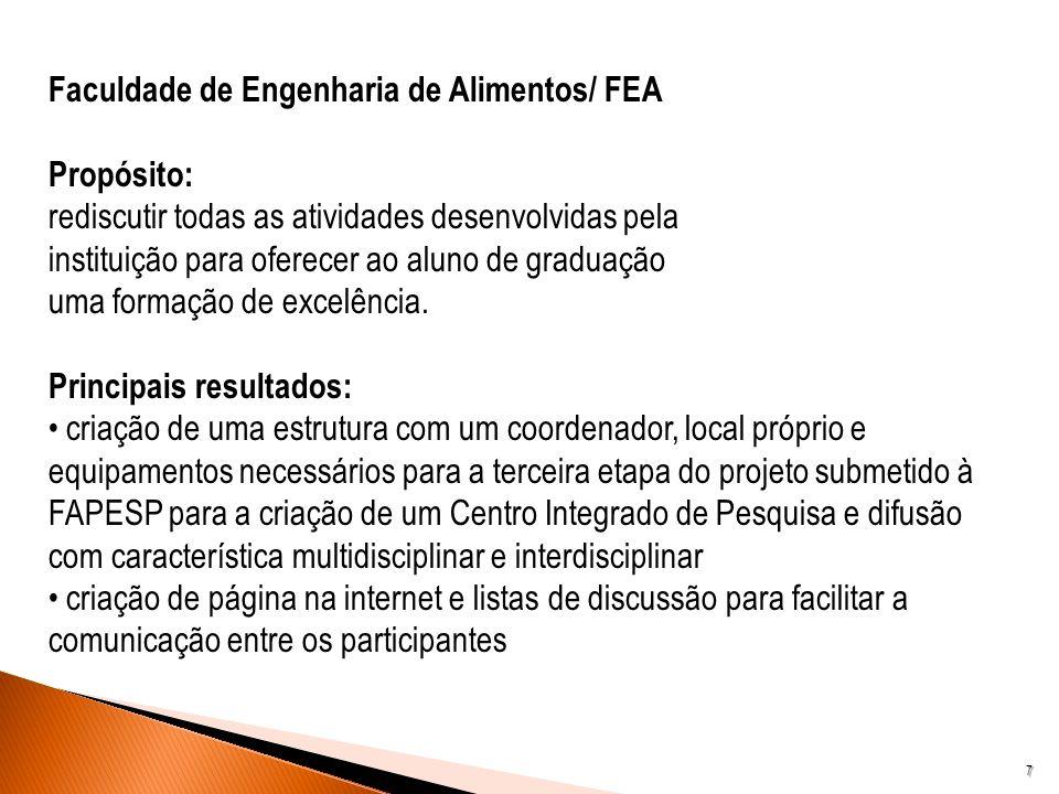 7 Faculdade de Engenharia de Alimentos/ FEA Propósito: rediscutir todas as atividades desenvolvidas pela instituição para oferecer ao aluno de graduaç