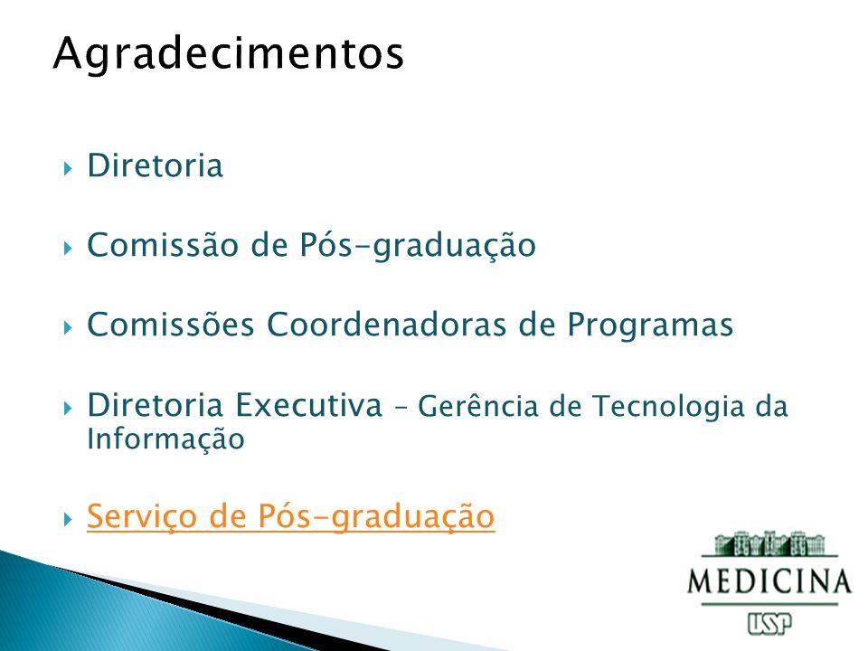 Diretoria Comissão de Pós-graduação Comissões Coordenadoras de Programas Diretoria Executiva – Gerência de Tecnologia da Informação Serviço de Pós-graduação