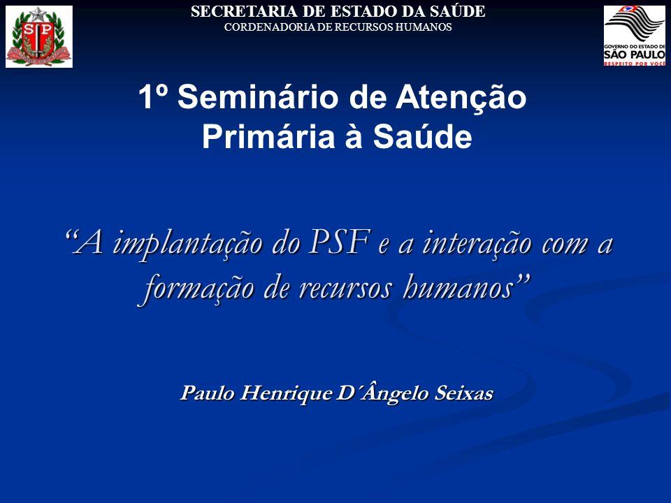 A implantação do PSF e a interação com a formação de recursos humanos Paulo Henrique D´Ângelo Seixas 1º Seminário de Atenção Primária à Saúde SECRETAR