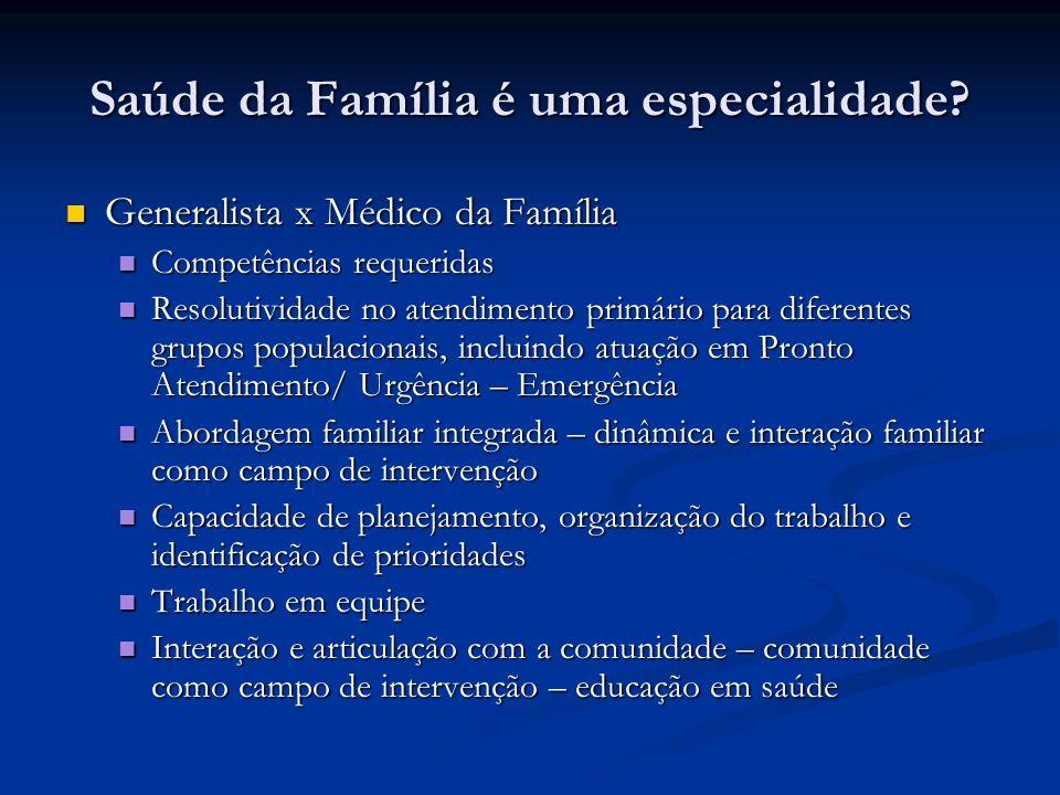 Saúde da Família é uma especialidade? Generalista x Médico da Família Generalista x Médico da Família Competências requeridas Competências requeridas