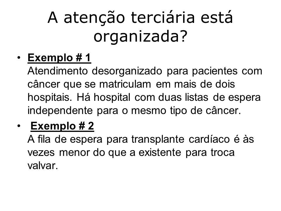A atenção terciária está organizada? Exemplo # 1 Atendimento desorganizado para pacientes com câncer que se matriculam em mais de dois hospitais. Há h