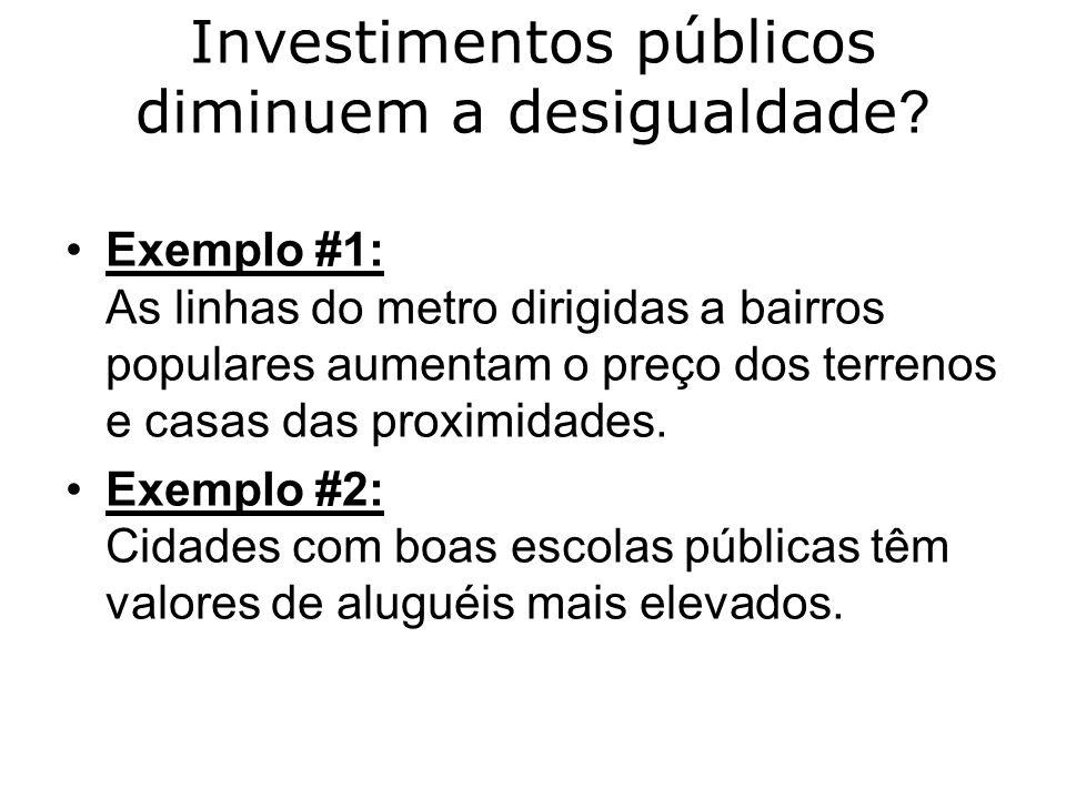Investimentos públicos diminuem a desigualdade ? Exemplo #1: As linhas do metro dirigidas a bairros populares aumentam o preço dos terrenos e casas da