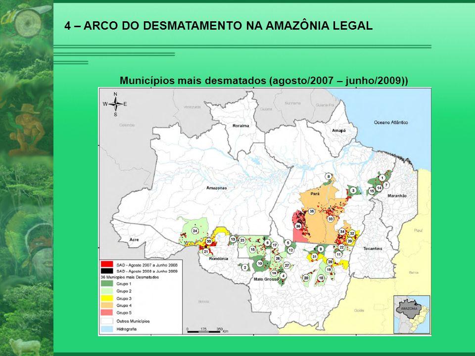 4 – ARCO DO DESMATAMENTO NA AMAZÔNIA LEGAL Municípios mais desmatados (agosto/2007 – junho/2009))
