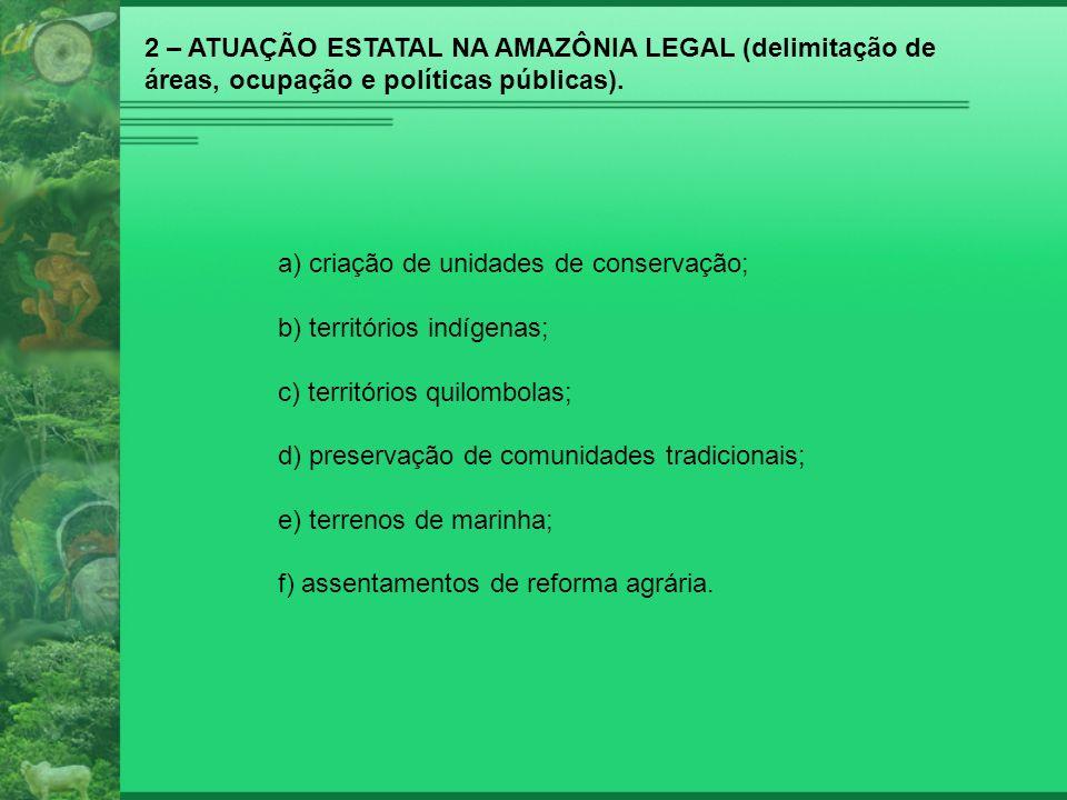 2 – ATUAÇÃO ESTATAL NA AMAZÔNIA LEGAL (delimitação de áreas, ocupação e políticas públicas). a) criação de unidades de conservação; b) territórios ind