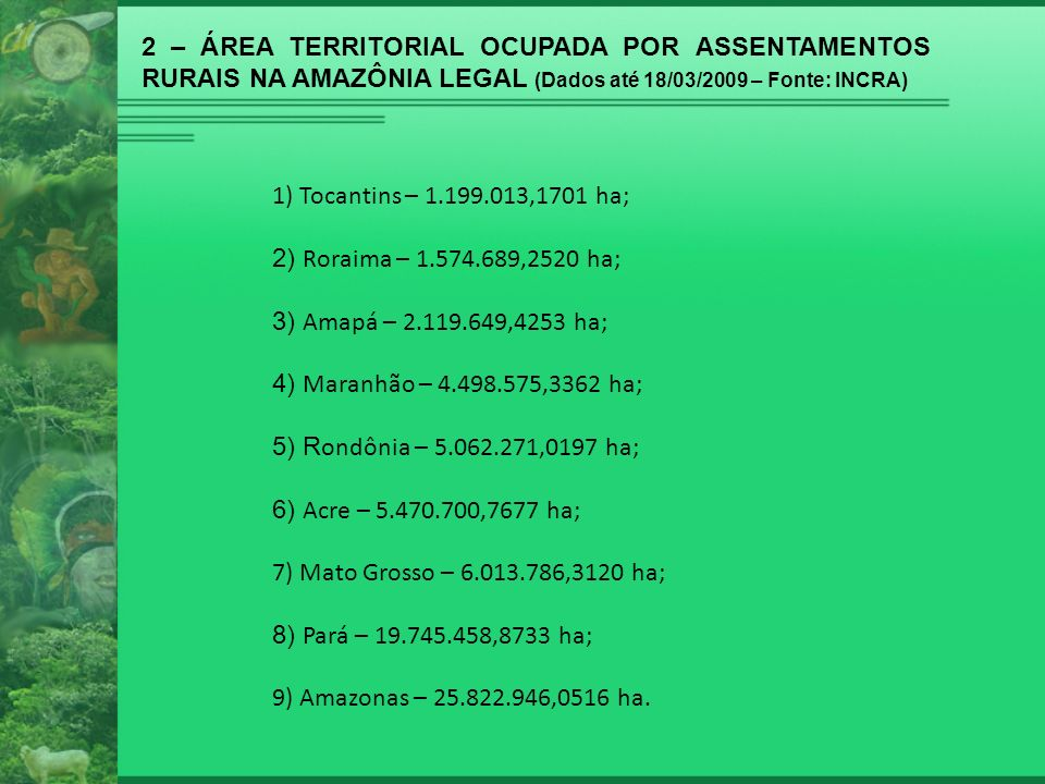 2 – ÁREA TERRITORIAL OCUPADA POR ASSENTAMENTOS RURAIS NA AMAZÔNIA LEGAL (Dados até 18/03/2009 – Fonte: INCRA) Área total de assentamentos na Amazônia Legal: 71.507.090,2079 ha (88,68% da área total no Brasil).