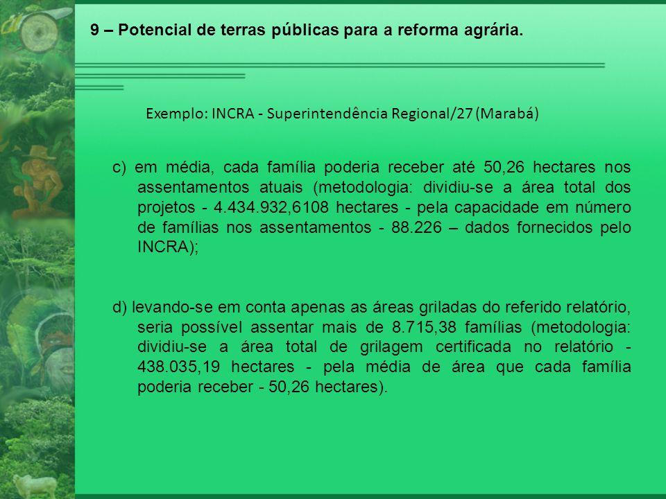 Exemplo: INCRA - Superintendência Regional/27 (Marabá) c) em média, cada família poderia receber até 50,26 hectares nos assentamentos atuais (metodolo