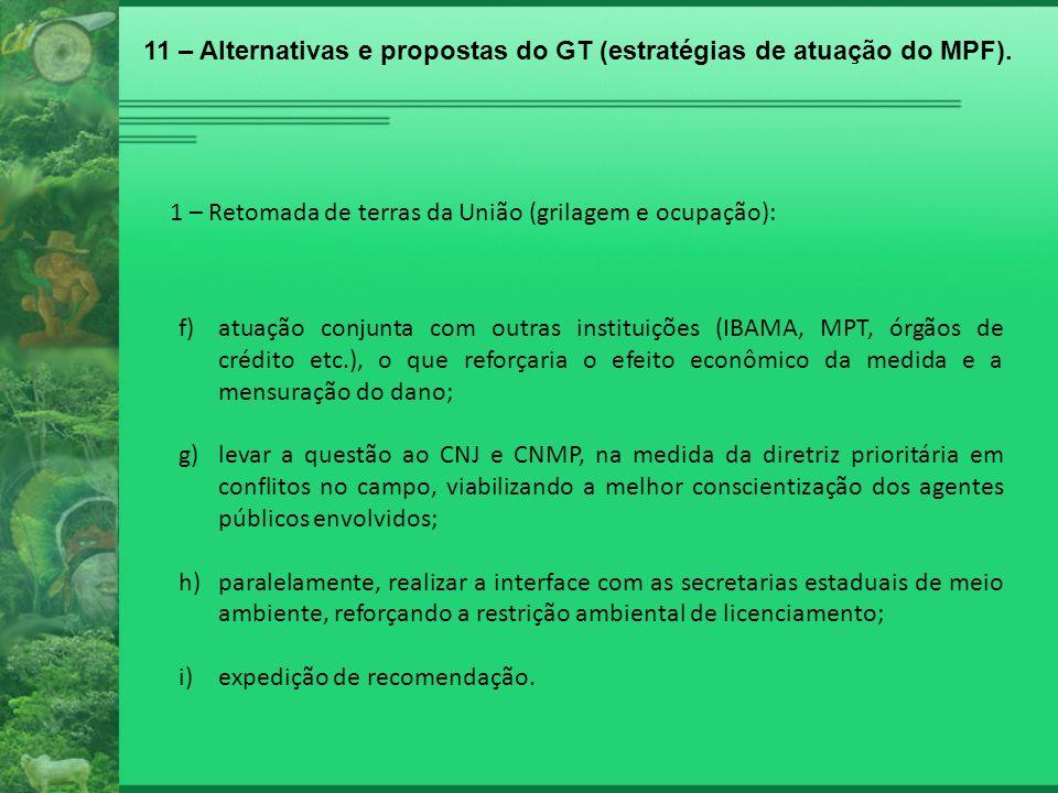 1 – Retomada de terras da União (grilagem e ocupação): f)atuação conjunta com outras instituições (IBAMA, MPT, órgãos de crédito etc.), o que reforçar