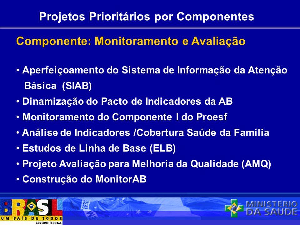 Projetos Prioritários por Componentes Componente: Monitoramento e Avaliação Aperfeiçoamento do Sistema de Informação da Atenção Básica (SIAB) Dinamiza